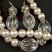 Vintage Lucite Faux Pearls and Rhinestones Necklace and French Wire Earrings