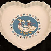 Vintage TREASURE CRAFT  Ribbon Geese Heart Shaped Baking Dish - Wall Hanging