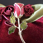 Vintage Enamel Red Rose Pin Brooch