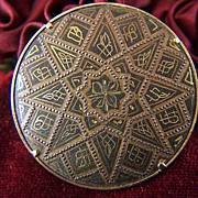 SALE Vintage Round Damascene Pin Brooch