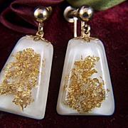 Vintage Gold Foil Glitter Lucite Screw Back Earrings