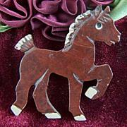 Vintage Carved Dark Brown Wooden Horse Pony Pin Brooch
