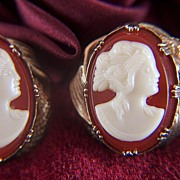 Vintage Faux Shell Cameo Screw Back Earrings