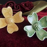 Vintage Ceramic Dogwood Flowers Set of 2 Brooch Pins