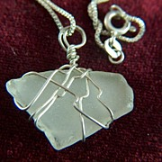 Vintage Sterling Silver Wire Wrapped Opaque Stone Pendant and Chain