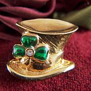 Vintage signed AVON Leprechaun Shamrock Hat Lapel Pin
