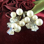 Vintage signed Richelieu Faux Pearls and Crystal Beads Clips Earrings