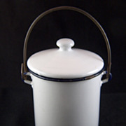 """Vintage Small White with Black Trim Enamel Covered Pot - 5"""" high"""