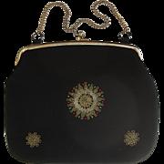 SALE Black Nubby Silk Evening Bag with Metallic Thread Design