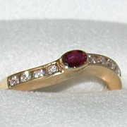 SALE 14K Ruby and Diamond Ring