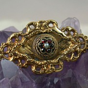 SALE Vintage Gilt Bohemian Garnet Brooch