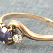 SALE Estate Rose Gold Sapphire and Diamond Ring