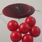 Vintage Bakelite Cherries Brooch