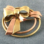 SALE 1940's 14K Two Tone Circle/Bow Pin