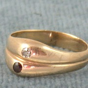 SALE 14K Double Ring with Diamond and Rhodolite Garnet