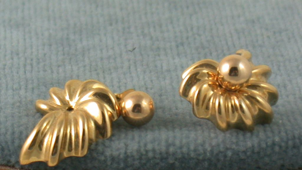 Estate 14K Gold Shell Earrings