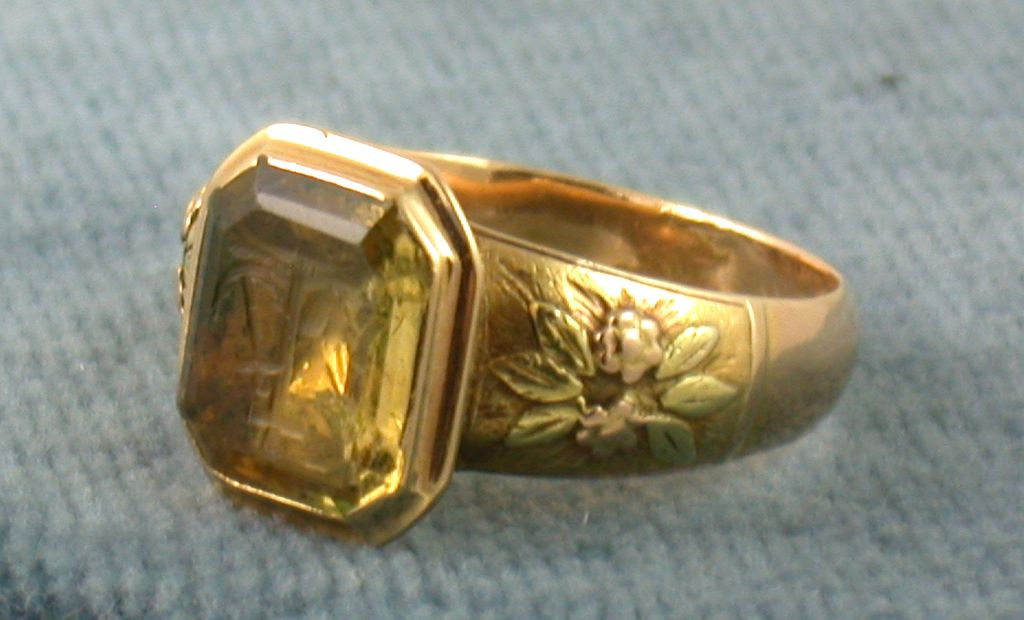 Estate 18K Citrine Intaglio Ring
