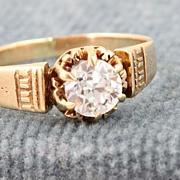 Estate 18K Gold 0.65 CT Diamond Etruscan Ring