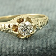 SALE Estate 14K 0.35 CT Old European Cut Diamond Ring