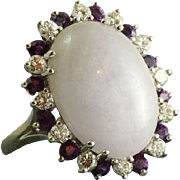 Estate 14KW Lavender Jade Diamond and Amethyst Ring