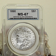 SALE MS 67 1890 Morgan Silver Dollar