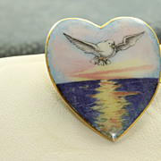 SALE 9 CT Victorian Enamel Heart Dove Pin