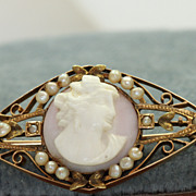 Estate 10K Cameo Seed Pearl Pin