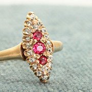 SALE Early 12 C Rose Gold Red Stone and Old Mine Cut Diamond Ring