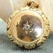 Estate 14K Rose Gold and Diamond Locket