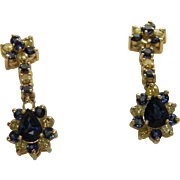 SALE Estate 14K Sapphire and Yellow Diamond Drop Earrings
