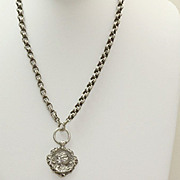 SALE Vintage Unger Brothers Fob Pendant on English Sterling Rolo Chain