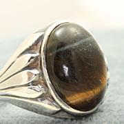 SALE Estate Silver Tiger Eye Native American Ring