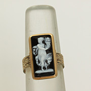 SALE 14K Victorian Hardstone Cameo Ring