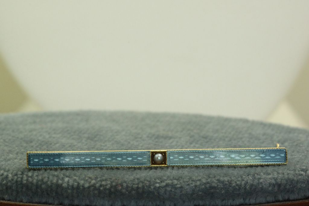 1924 14K Inscribed Enamel and Seed Pearl  Pin by Carter & Howe