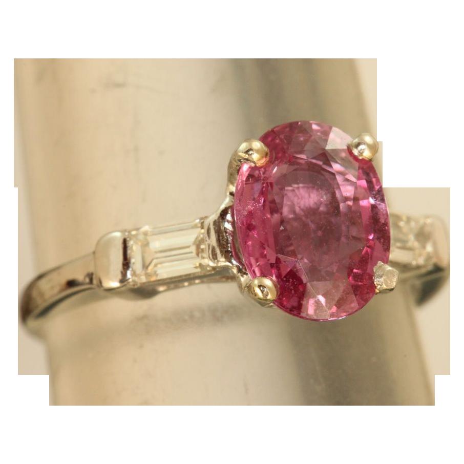 Estate Platinum 2.5 CT Pink Sapphire and Diamond Ring