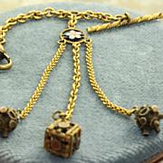 SALE Estate 10 K Enameled Watch Chain