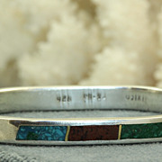 Sterling Tri Colored Inlaid Turquoise Bracelet Mexico