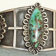 SALE Los Ballesteros Sterling Turquoise Cuff
