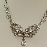 Vintage Sterling Open Back Crystal Necklace