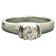 SALE Estate 18 KW Jabel 0.60 CT Old European Cut Diamond Ring