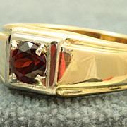 Estate 18 K Jabel 1.2 CT Garnet Man's Ring