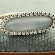 SALE Estate 18 KW Chalcedony Diamond Ring