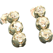 Estate  14 KW 1.35 CT Old European Cut Diamond Earrings