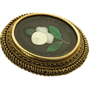 SALE Estate 14 K Pietra Dura Brooch