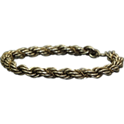 Estate Sterling/18 K Twisted Rope Bracelet