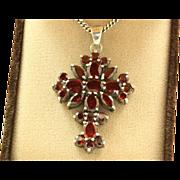 Sterling Vintage 15 CT Garnet Cross