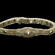 SALE Estate 10 K Diamond Blue Stone Filigree Bracelet
