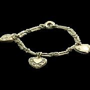 SALE Sterling Vintage Puffy Heart Bracelet