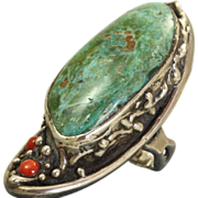 SALE Signed Native American Turquoise Coral Ring