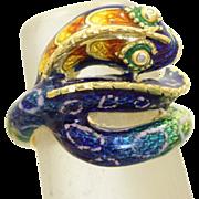 SALE Estate 18 K Diamond Enamel Snake Ring